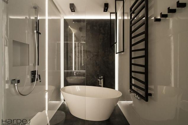 aranżacja łazienka podświetlana ściana