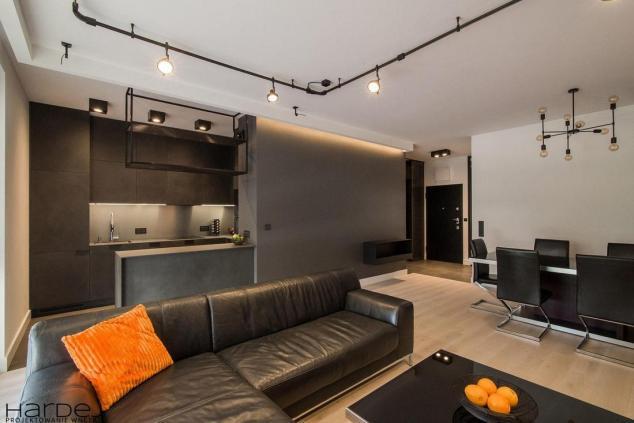 projekt wnętrz salon industrialny-czarne meble