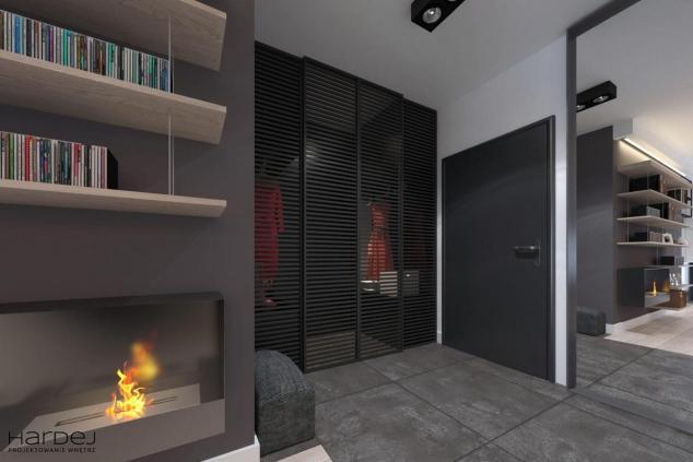 aranżacja hol styl industrialny ażurowe drzwi