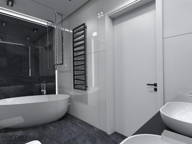 aranżacja łazienka płytki białe i czarne
