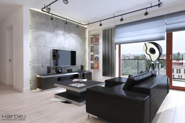 duży salon czarne meble styl industrialny