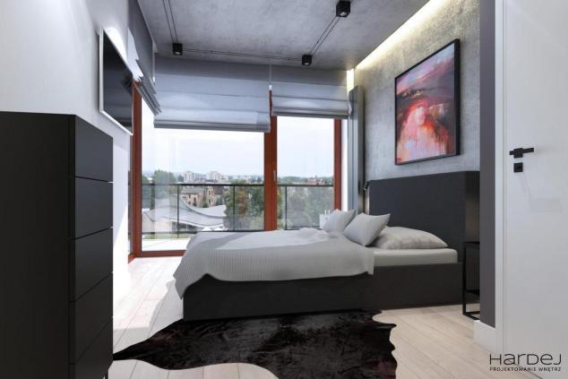 sypialnia ściana i sufit beton styl industrialny