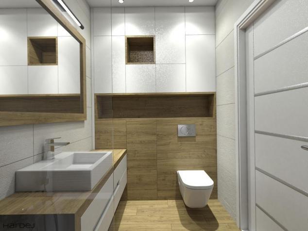 aranżacja łazienka białe szafki i drewno