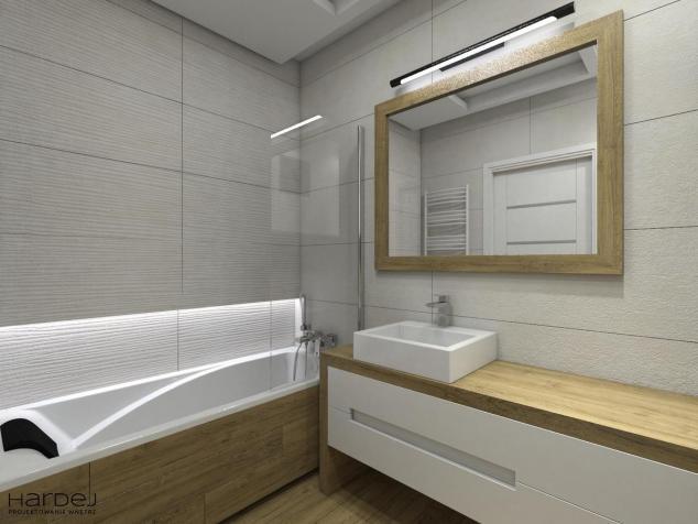 aranżacja łazienka drewniany blat