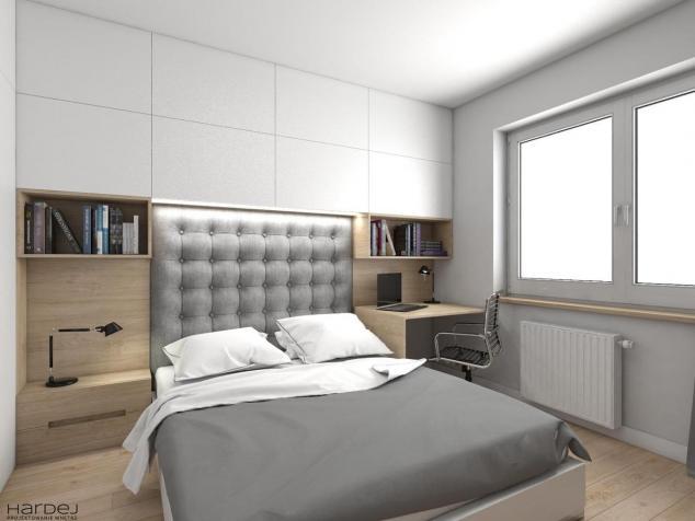 aranżacja sypialnia zabudowa nad łóżkiem