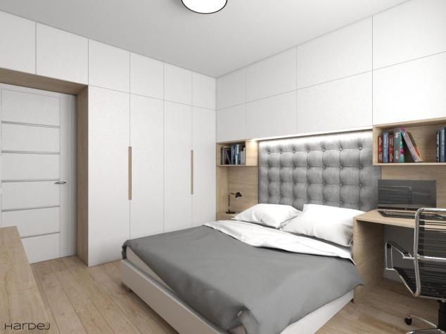sypialnia w stylu skandynawskim biała szafa