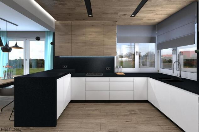 aranżacja biała kuchnia czarne blaty