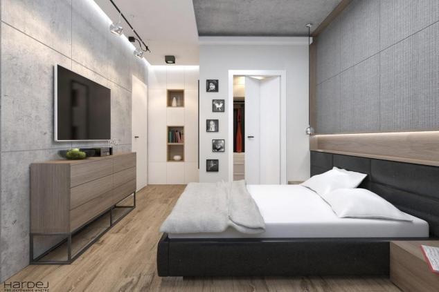 aranżacja sypialnia szary sufit tynk beton styl industrialny