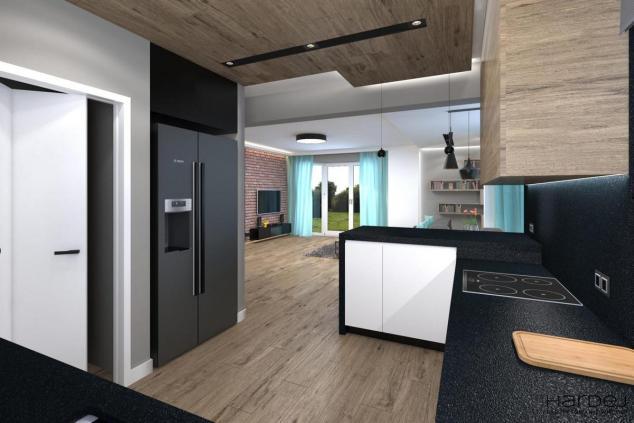 projekt kuchni drewniano na suficie