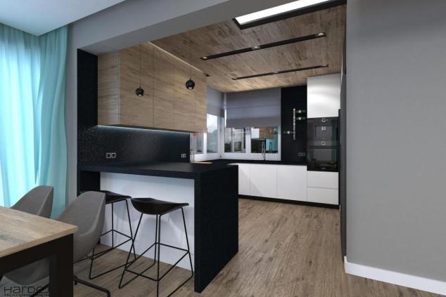 projekt kuchni drewniany sufit styl industrialny