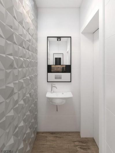 projekt łazienka biała lustro