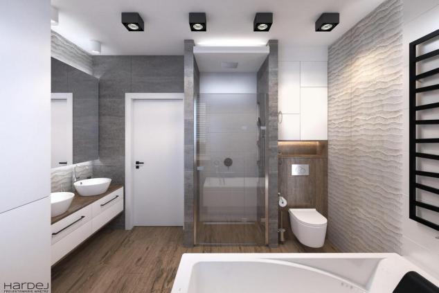 projekt łazienki szare płytki drewno