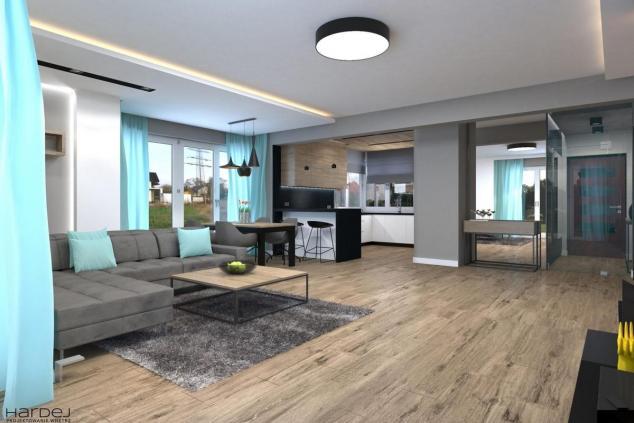projekt wnętrz salon drewno płytki drewnopodobne dodatki turkus
