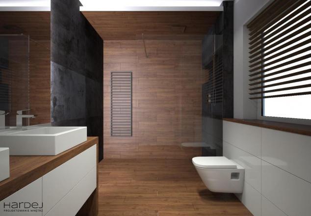 aranżacja łazienka drewno na suficie