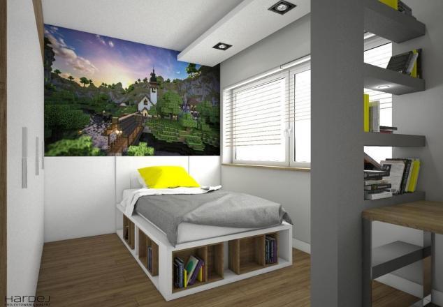 aranżacja pokój dla chłopaka kolor szary i żółty