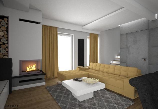 aranżacja salon styl nowoczesny beton tynk