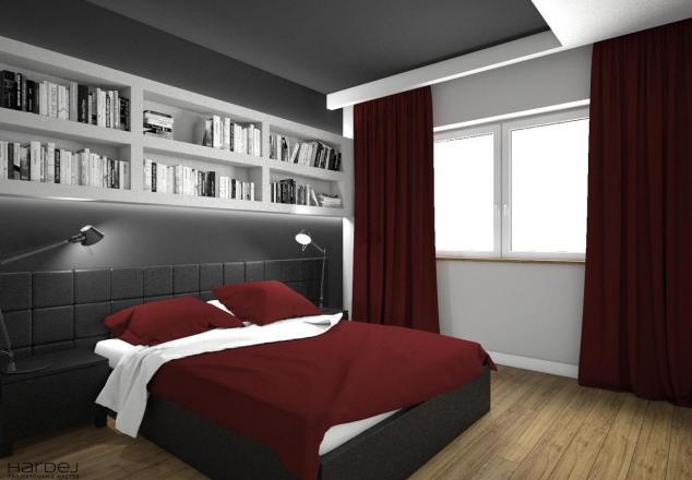 aranżacja sypialnia ciemne ściany i sufit