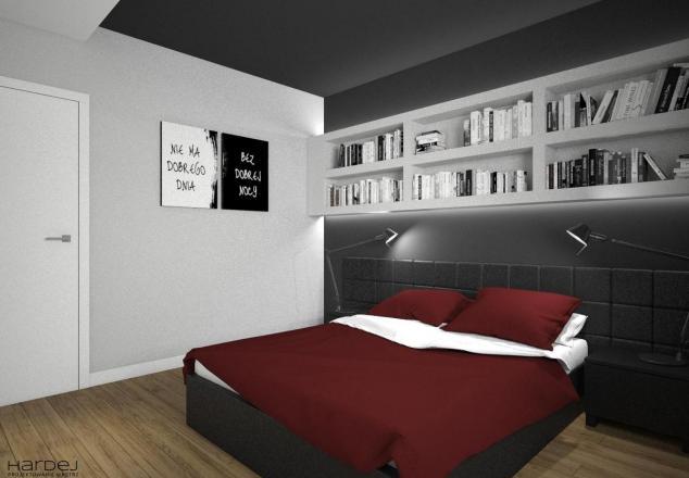 aranżacja sypialnia polki nad łóżkiem styl nowoczesny