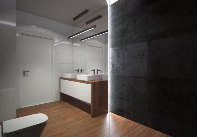 projekt wnętrz łazienki ciemne płytki duże lustro