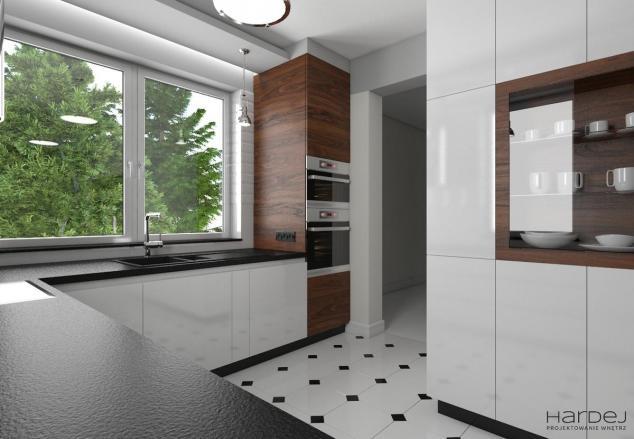 projekt kuchnia biały lakier płytki kostka