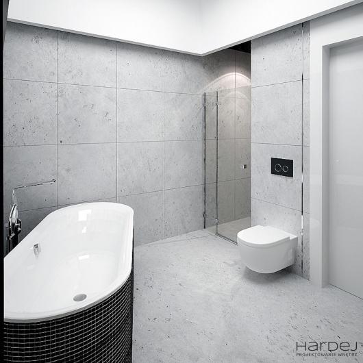 projekt wnętrz szara łazienka wanna wolno stojąca