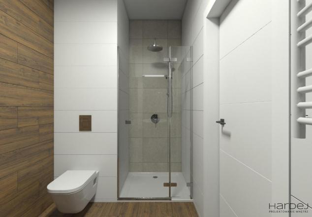 łazienka drewnopodobne płytki prysznic we wnęce