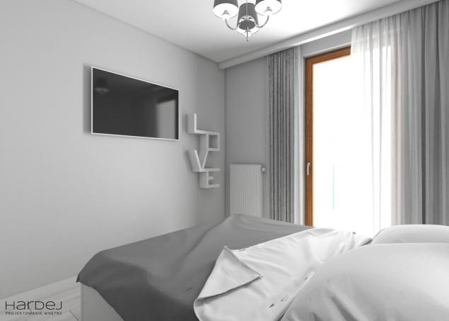 sypialnia aranżacja proste formy tapeta