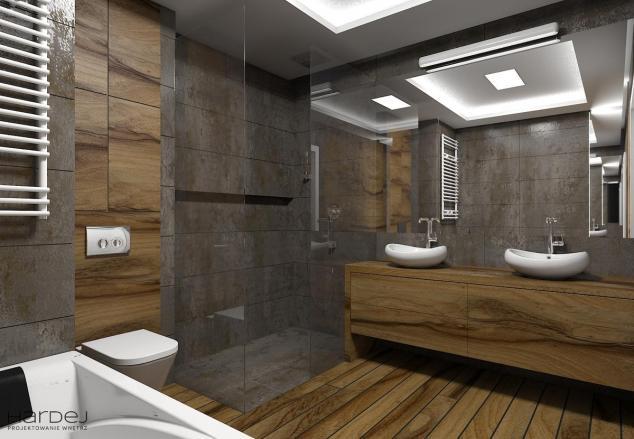 łazienka drewno teak styl nowoczesny projekt