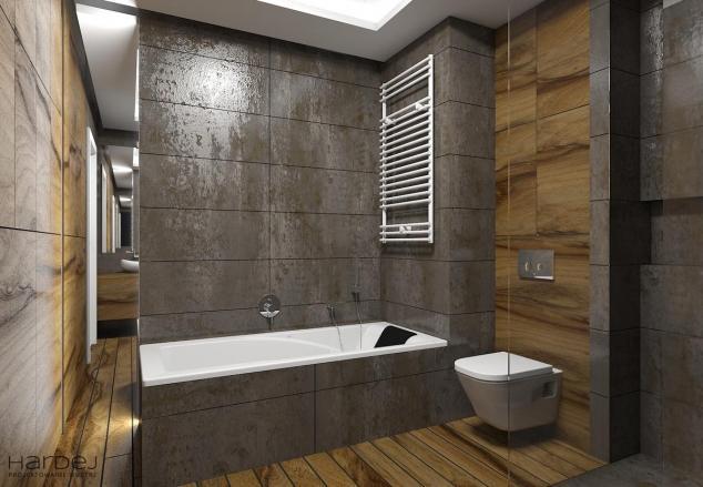 łazienka styl nowoczesny lapato drewniana podłoga