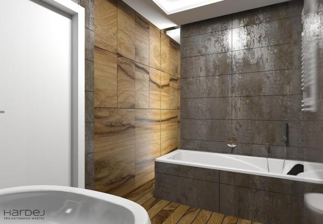 projekt wnętrz łazienka duża drewno wanna walk in