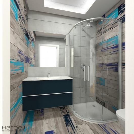 projekt wnętrza łazienki niebieskie elementy