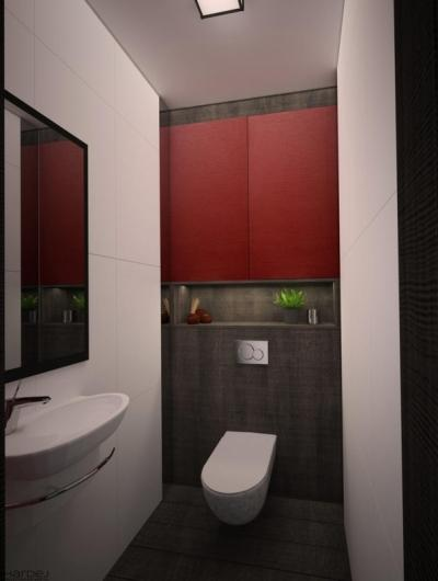 projekt łazienka biało czerwona