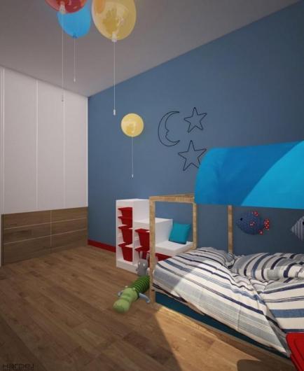 projekt pokój dziecka niebieska ściana
