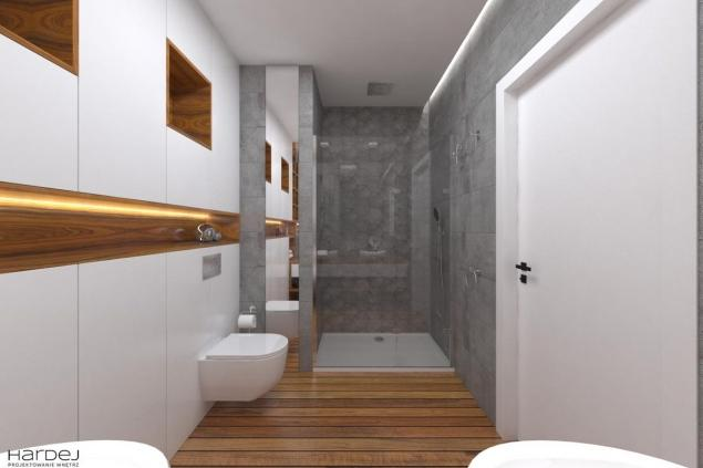 aranżacja łazienka biała zabudowa z drewnem