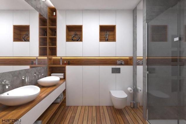 aranżacja łazienka podłoga teak