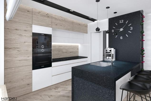 projekt kuchni białe szafki i drewno