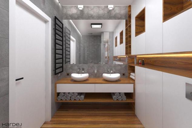 projekt wnętrz łazienka szare płytki hexagonalne