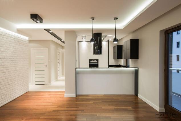 kuchnia otwarta na salon barek styl nowoczesny